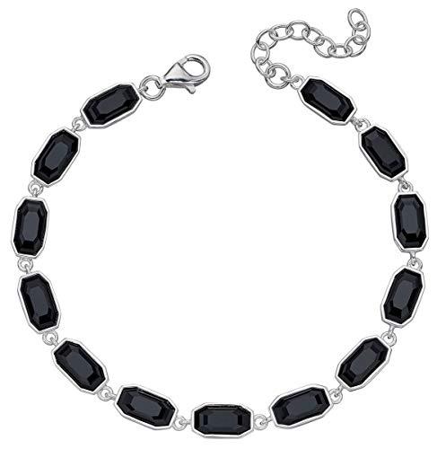 Elements Silver Womens Tennis Jet Bracelet - Black/Silver
