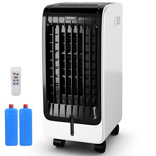 COSTWAY Evaporative Cooler, Portable Evaporative Air Cooler with Fan & Humidifier Bladeless Quiet Electric Fan w/Remote Control for Indoor Home Office Dorms (24.5')