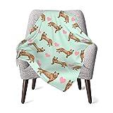 Manta de franela de forro polar suave y cálido australiano perro amor corazones rojo Heeler menta ligera niños niño niño cochecito cama manta felpa 40 x 30 pulgadas