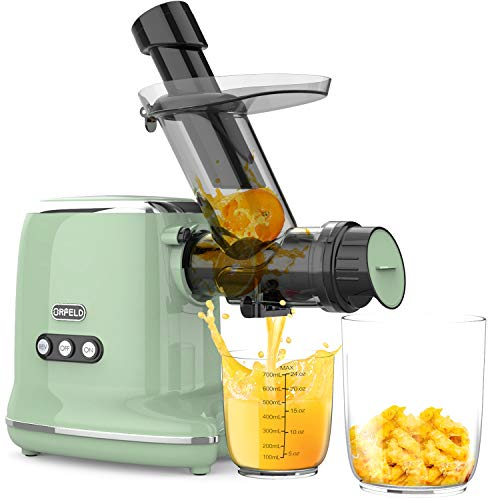 Juicer Machines, Orfeld Cold Press Juicer with 90% Juice Yield & Purest Juice, Easy Cleaning & Quiet Motor Masticating Juicer Machines for Vegetables and Fruits (Green)