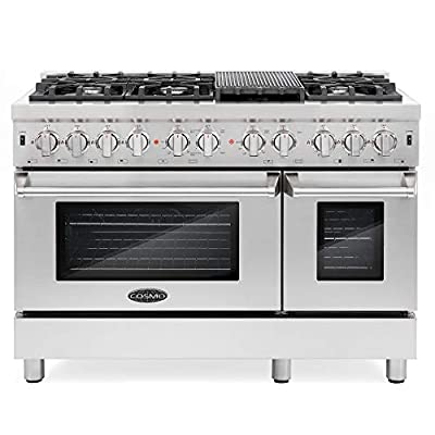 Cosmo DFR486G 48 inch Freestanding Dual Fuel Range | 6 Sealed Burner Rangetop, Double Convection Oven with Light, Cast-Iron Grate Stovetop/Griddle, Metal Stove Heat Control in Stainless Steel