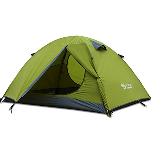3 Season 3-Person Double Layer Waterproof Dome Backpacking Tent Aluminum Rod for Camping Hiking Travel Climbing (Green-3 Person)