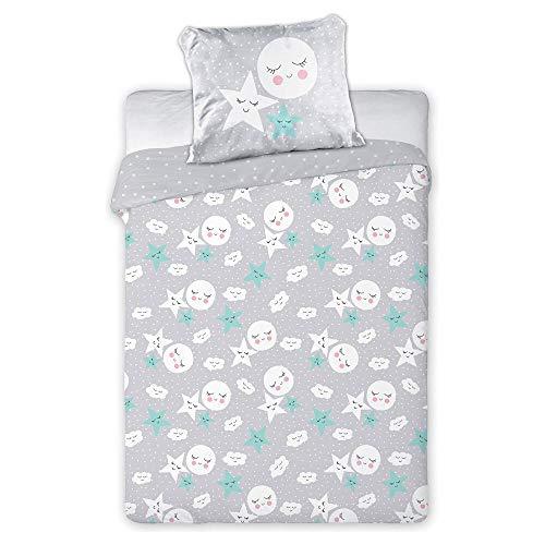 Juego de ropa de cama unisex para bebé, color gris, diseño: luna y estrellas, 2 piezas, para recién nacidos y niños pequeños, tamaño: 135 x 100 / 60 x 40 cm
