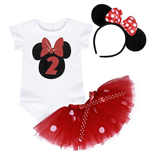Jurebecia Bebé Niñas Es mi Primer/Segundo cumpleaños Trajes Conjuntos Princesa Vestido Tutu 3 Piezas Mameluco + Falda + Diadema (Rojo-a192, 2 años)