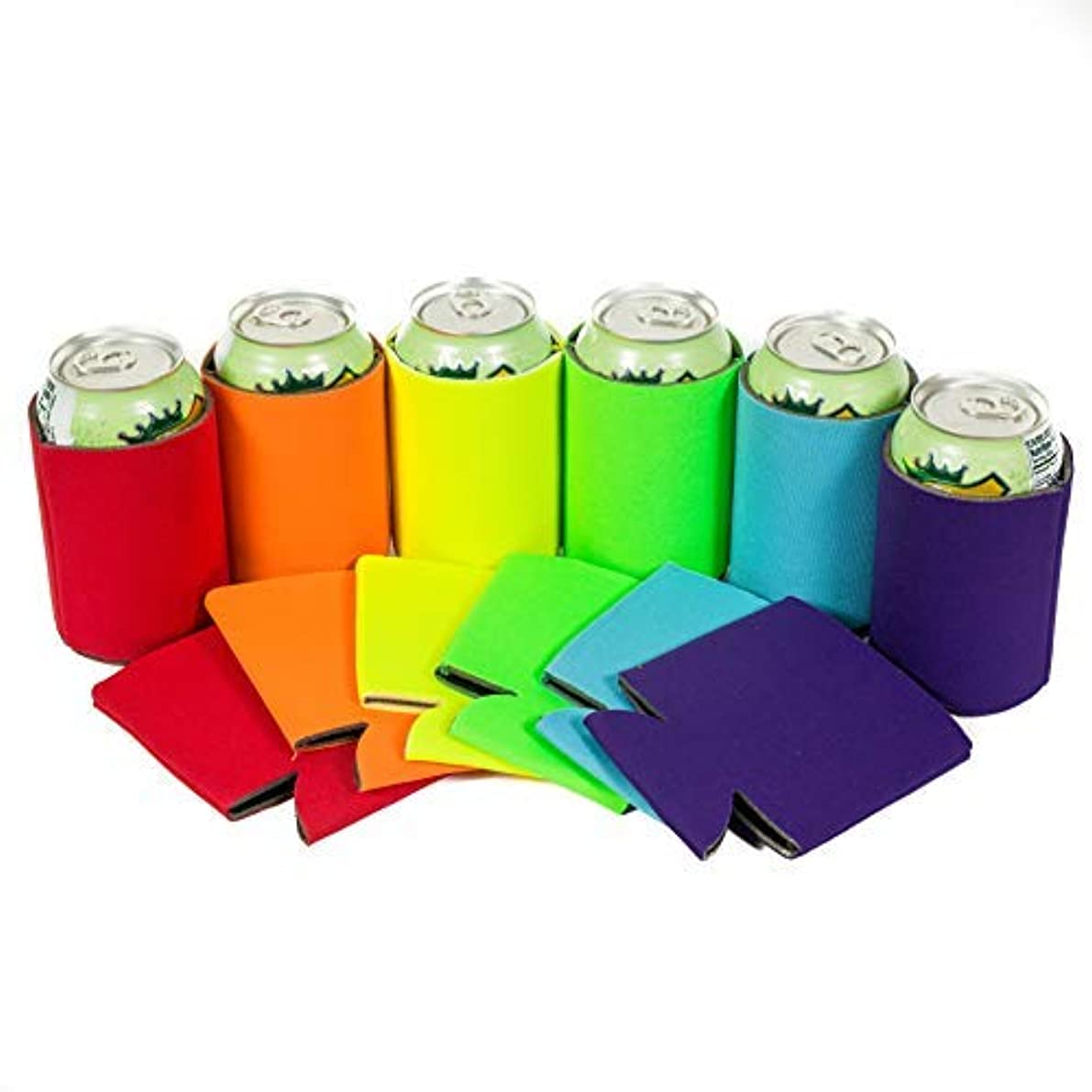 QualityPerfection 12 Multi Beer Blank Can Coolers Sleeves,Soft Drink,Economy Bulk,Collapsible Insulator,Perfect 4 BBQ,Weddings,Parties(12,Purple,Turquoise,Green Lime,Yellow,Orange,red)