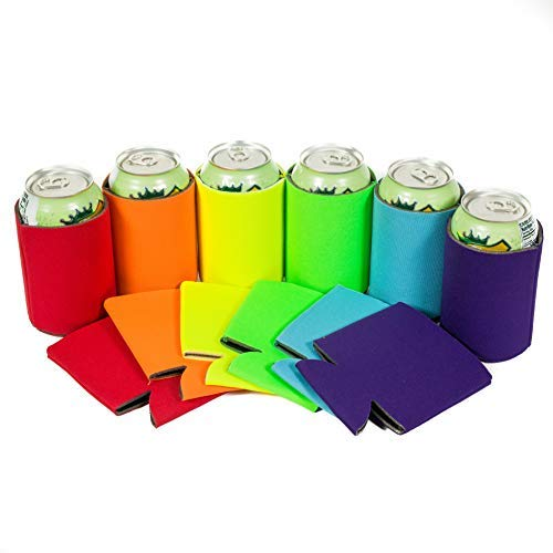 QualityPerfection - 12 Multi Beer Blank Can Coolers Sleeves - 12 oz Soft Drink,Economy Bulk,Collapsible Insulator - Perfect 4 BBQ,Weddings,Parties(12,Purple,Turquoise,Green Lime,Yellow,Orange,red)