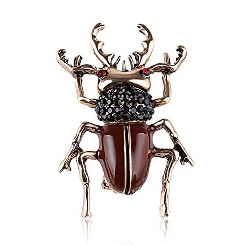 YAOLUU Broches y alfileres Aleación de Zinc Browne Beetle Broches Animal Ladybug Pin Accesorios de Prendas de Vestir Broche de Moda