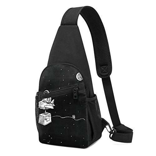 Astronaut Galaxy Trippy Printed Sling Backpack,Lightweight Shoulder Chest Backpack Travel Hiking Bag Crossbody Shoulder Bag