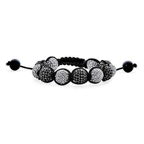 Bling Jewelry Black and White 10MM Pave Crystal Disco Ball Shamballa Inspired Bracelet for Women for Men Black Cord String Adjustable
