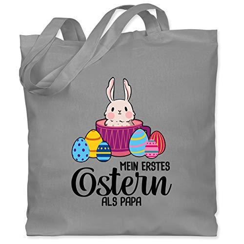 Shirtracer Ostern - Mein erstes Ostern als Papa - Hase in Tasse - Unisize - Hellgrau - Ostereier - WM101 - Stoffbeutel aus Baumwolle Jutebeutel lange Henkel