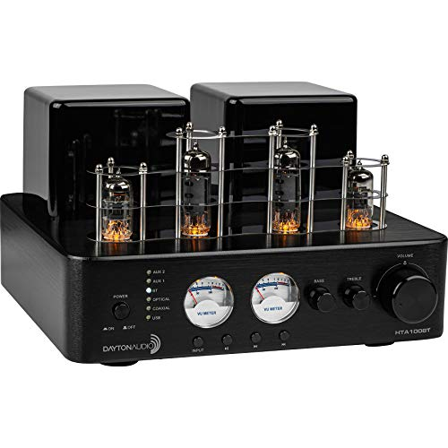Dayton Audio HTA100BT Hybrid Stereo Tube Amplifier with Bluetooth USB Aux Phono in Sub Out 100W
