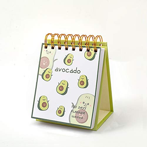 MAXLEAF Spiral Cartoon Avocado Theme 100-Day 100-Day Goal Planner Pad Notebook for Learning Plan Fitting Plan (Green)