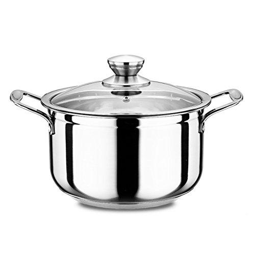 Épais 304 Acier Inoxydable Double Fond Pot Pot Casserole Pot Marmites Petit Pot Grandes Oreilles Pot QIQIDEDIAN (Size : 22CM)