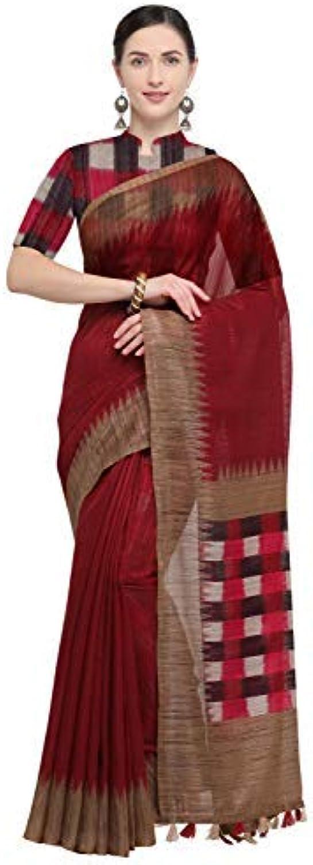 Rajnandini Women's Linen Checks Printed Saree(JOPLNB3043B_Pink_Free Size)