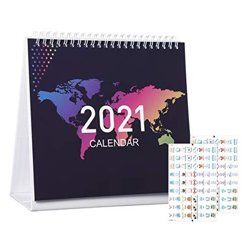 STOBOK 2021 Tischkalender | Monatliche Schreibtisch Kalender Monatskalender läuft von Januar bis Dezember umfasst Sticker,Ruled Hinweis für Zu Hause zu tun, Büro-Plan & Zeitplan 20CM x 18CM