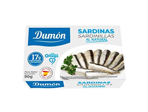DUMON - 25 Einheiten von 90 Gramm natürlichen Sardinen in Dosen. Proteinreiche Fischkonserven, Premium Sardinen. Fischkonserven in eigenem Saft.