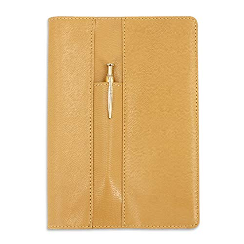 Ricaricabile, pelle di capra notebook A5 Traveler' s Journal Diary notebook anteriore a tasca Light Brown