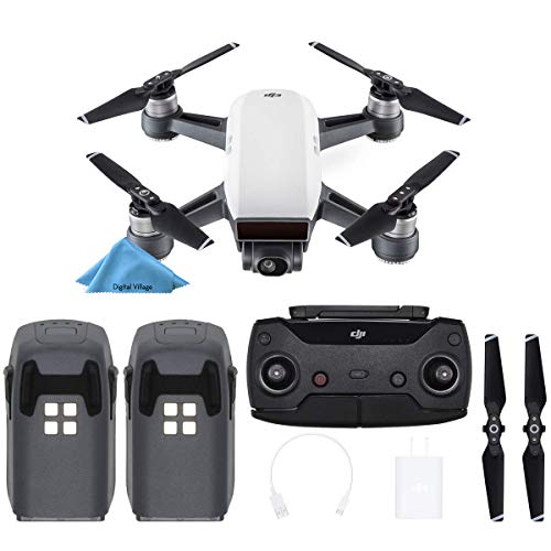 DJI Spark Drone Quadcopter - (Alpine White) with Remote Controller and 2 Batteries Bundle Starter Kit