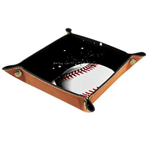 Bennigiry Valet-Tablett mit Baseball-Druck, Leder-Schmucktablett für Geldbörse, Uhren, Schlüssel, Münzen, Handys und Bürogeräte, Multi, 16 x 16 cm