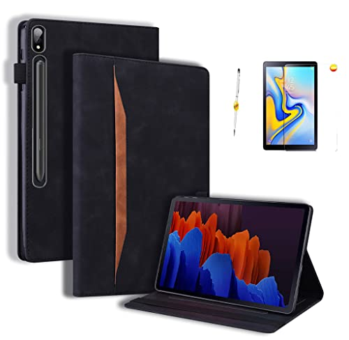 Hülle Samsung Galaxy Tab S7 Plus/Tab S7+/Tab S7 Fe, Schutzhülle Bildschirmschutz Shell Samsung Tab S7 Plus/Tab S7+/T970 T976B 5G 12.4 Zoll 2021 Tablet PU Leder Tasche Ständer Funktion - Schwarz