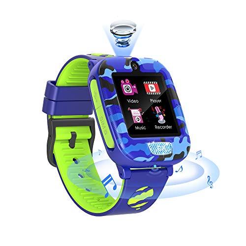 Fitonme Reloj Inteligente para niños,Reloj Teléfono para niños niñas con SOS Música Juego Vídeo Llamada Blingbling 2Cámara 6Juego Alarma Calculadora 3-12Y Regalos cumpleaños (Azul)