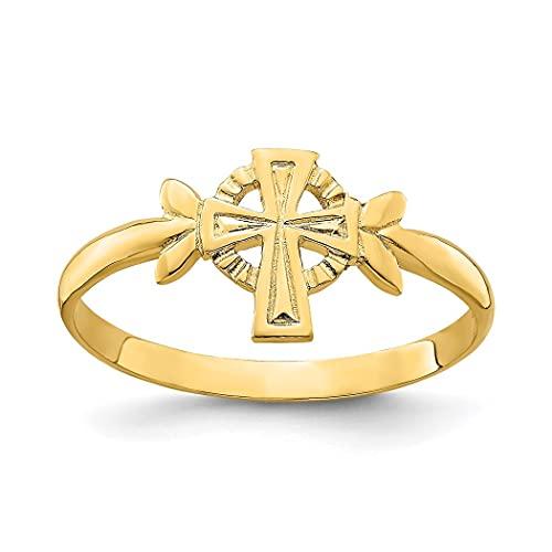 Cruz de fe religiosa pulida sólida de 14 quilates con anillo circular, tamaño L 1/2 joyería regalos para mujeres