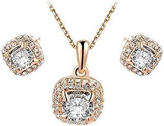 Hanessa, set di orecchini placcati in oro da donna, collana dorata, regalo di Natale per la donna/fidanzata/donna