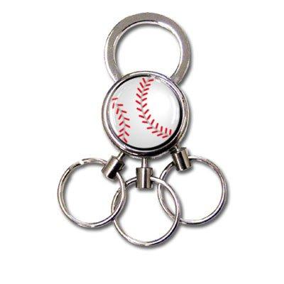 [プロモ] 3連キーホルダー 野球ボール柄 [景品 プレゼント] キーリング 野球部