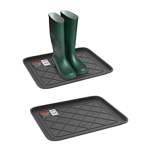 Stalwart Weather Boot Tray-Small Water Resistant Plastic Utility Shoe Mat for Indoor and Outdoor Use in All Seasons (Set of Two, Dark Grey)
