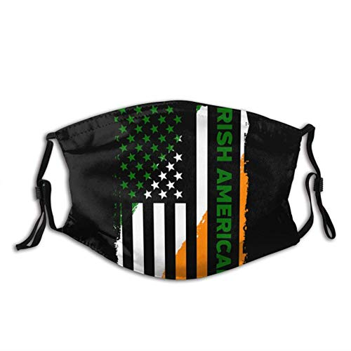 Asiluna Irish American Flag Shamrock Unisex Reuseable Dustproof Mouth Cover with Adjustable Elastic Strap and Filter
