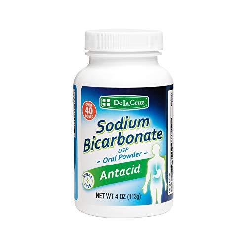 De La Cruz Pure Sodium Bicarbonate - USP Grade Bicarbonate of Soda – 100% Pure Baking Soda – Aluminum Free Antacid Powder for Heartburn & Indigestion - Packed in USA, 4 OZ.