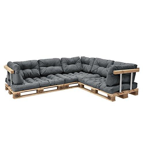 [en.casa] Euro Paletten-Sofa - DIY Möbel - Indoor Sofa mit Paletten-Kissen/Ideal für Wohnzimmer - Wintergarten (3 x Sitzauflage und 8 x Rückenkissen) Grau