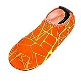 FNKDOR Schuhe Herren Streifen Strandschuhe, Fuß umwickeln Watschuhe Tauchsocken Stretchgewebe Wading Shoes Schnell trocknend Flussschuhe Orange 36-37