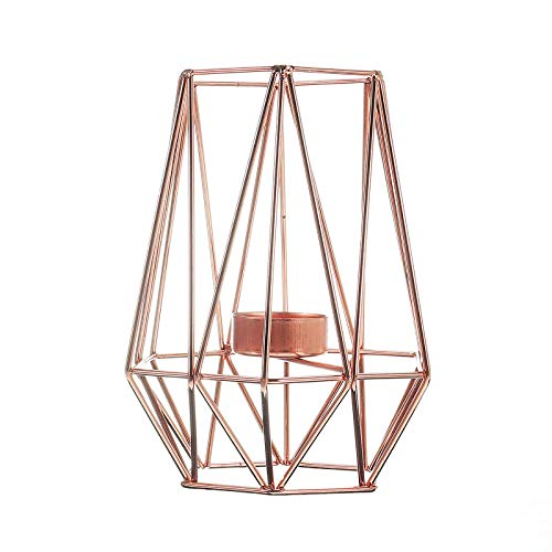 OUY Candlestick HoldersCandlestick Metal Iron Candle Holder Wedding Home Decorations StyleDecorative Candle Stand (Size:8.4x9.4x17.5cm; Color:Rose Gold)