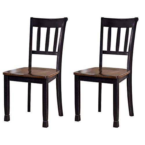 Ashley Furniture Signature Design - Owingsville Dining Room Side Chair - Latter Back - Set of 2 - Black-Brown Dark Brown Dining Set