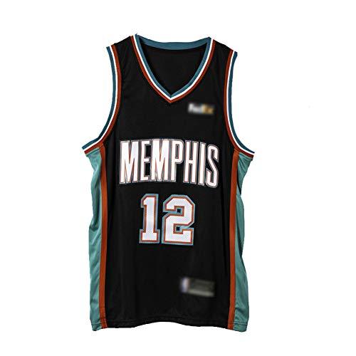 Camiseta de Baloncesto para Hombre-Grizzlies # 12 Ja Morant,Camisetas de Ropa de Jersey de Aficionados,Bordado Tops sin Mangas,Camiseta Deportiva para niños-Edición Ciudad Black-Small