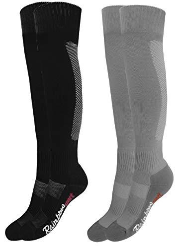 Rainbow Socks - Jungen Mädchen Fußball Soccer Kniestrümpfe - 2 Paar - Schwarz Grau - Größen 30-35