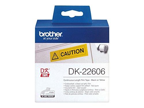 Brother DK-22606 Endlosetiketten Film (62 mm breit, 15,24 m lang, für QL-Etikettendrucker) schwarz auf gelb