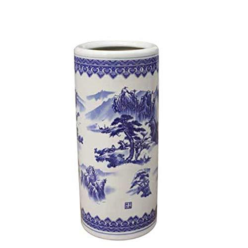 Paragüero de Porcelana, Diseño Clásico Azul y Blanco, Soporte para Bastón de Diseño Redondo de 19,7 (Color : Style2)