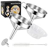 Stainless Steel Funnel, Kitchen Strainer Funnel Filter Set with Handle & Detachable Strainer & 300 Mesh Filter for Transferring Liquids, Oil, Making Jam