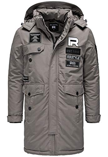 Redbridge Herren Winterjacke Parka Mantel RB Patches mit Kapuze Grau M