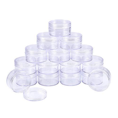 BENECREAT 16 Pack (30ml) Recipiente Vacío de Almacenamiento Bote de Plástico Transparente con Tapas de Rosca para Cuentas,Brillo,Maquillaje,Cosmeticos y Crema