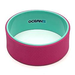 Ocean5 Yoga-Wheel Karna, Flexibilitätsförderndes Trainings-Rad, 33cm Yoga-Rolle zur schonenden entlastung ihrer Wirbelsäule, Farbe: Mint/Pink