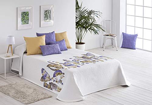 Textilia Colcha piqué Plumas para Cama de 135 (235x270 cm) Color 7 Morado.