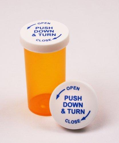 Prescription Pharmacy Vials -Amber Child Resistant Medicine Bottle - 16 Dram-Push Down Caps- Pack of 270 - Medicine & Pill Container, Pharmacy Bottle, Pharmacy Container, Plastic Container by Sponix