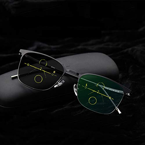 Man's Retro Photochrome Lesebrille, Dual-Use-Brille mit Fern- und Nahbereich, multifokale Progressive Brille mit Dioptrien, intelligente Sonnenbrille mit Farbwechsel, Anti-Augen-Ermüdung