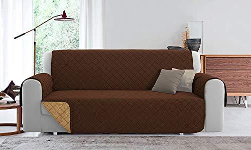 Sofaüberwurf gesteppt, wendbar, PET Friendly (Braun/Taupe, 190 cm)