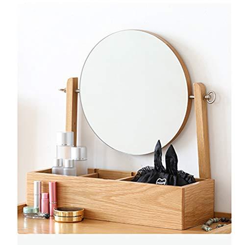 Houten Tafel Make-up Spiegel, 360 Graden Rotatie, Slaapkamer Badkamer Scheerspiegel