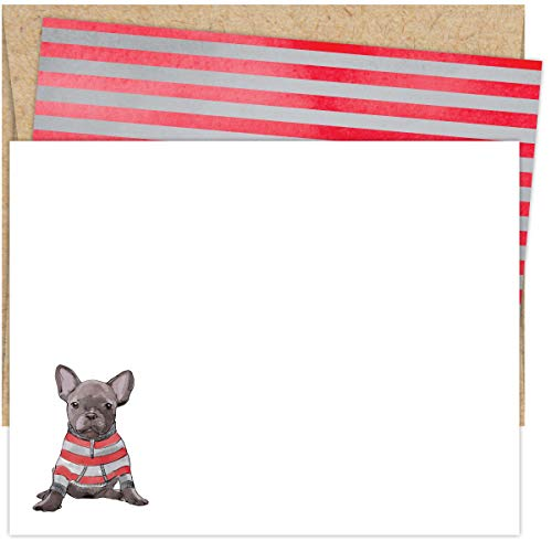 Koko Paper Co French Bull Dog Blank Notecards (25 Count) | Kraft Envelopes Included | Printed on Heavy Card Stock