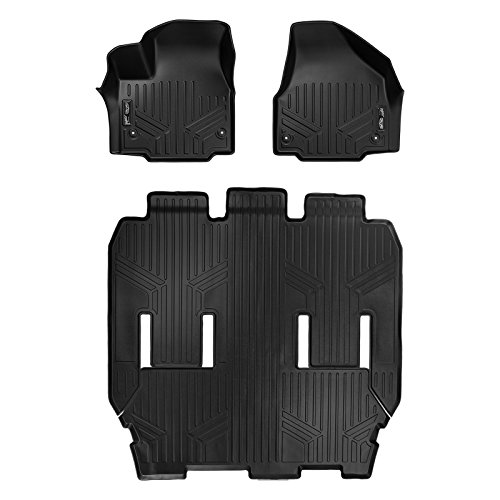 MAXLINER Floor Mats 3 Row Liner Set Black for 2017-2020 Chrysler Pacifica 7 or 8 Passenger Model (No Hybrid Models)